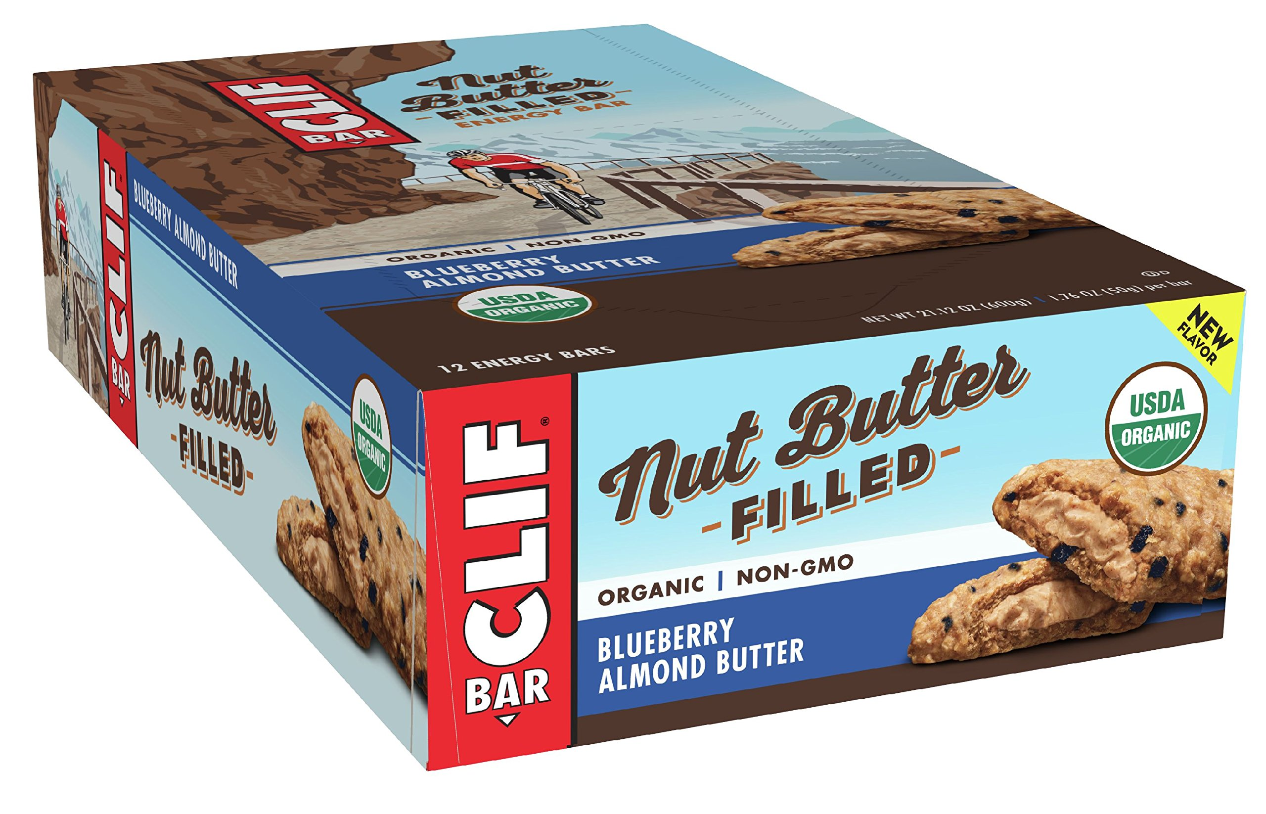 CLIF Nut Butter Filled - Organic Energy Bar - Blueberry Almond Butter - (1.76 Ounce Protein Snack Bar, 12 Count)