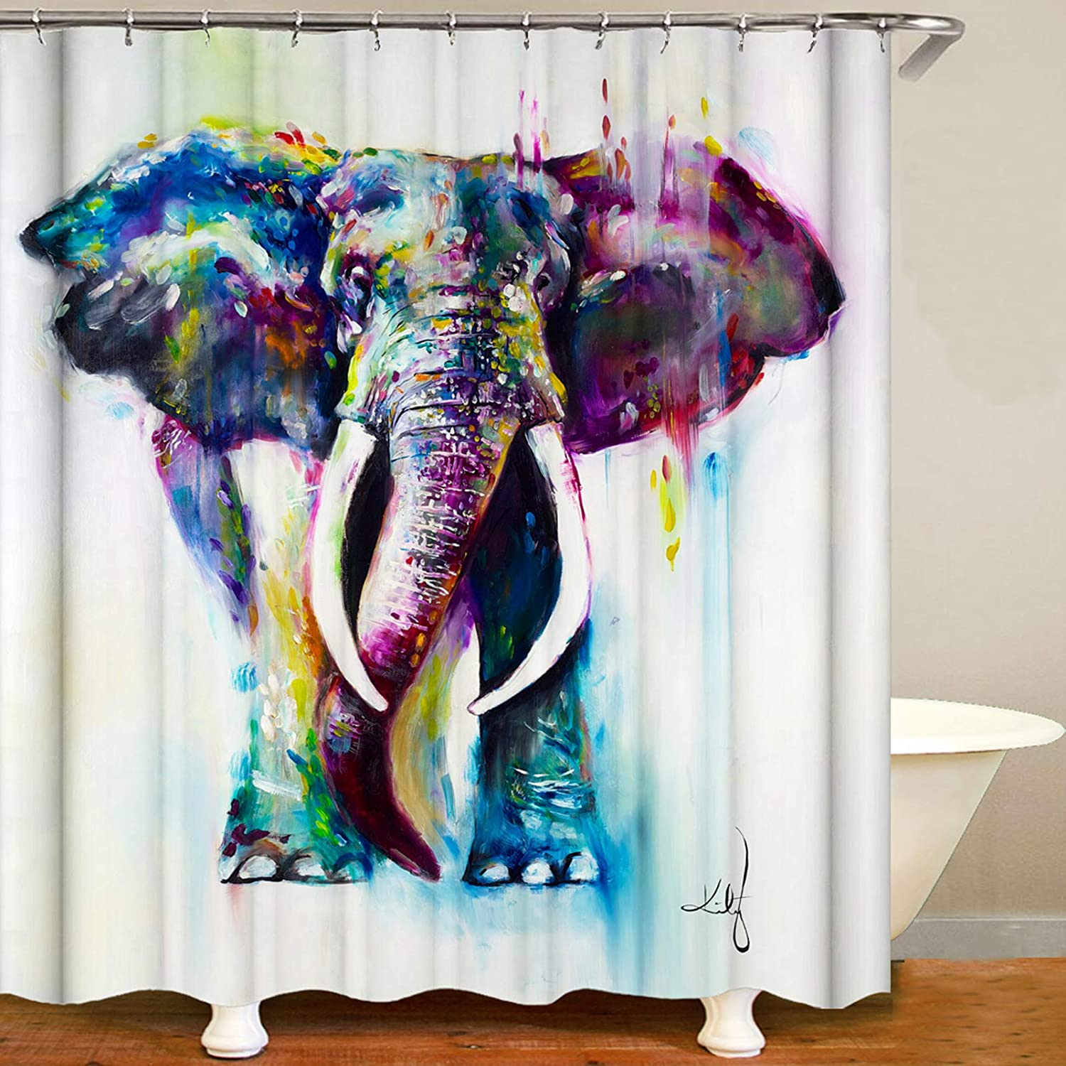 Colorful Elephant Shower Curtain for Bathroom, Funny Animal Shower Curtain Set, Fabric Polyester Shower Curtain Decor with Hooks Waterproof 72x72.
