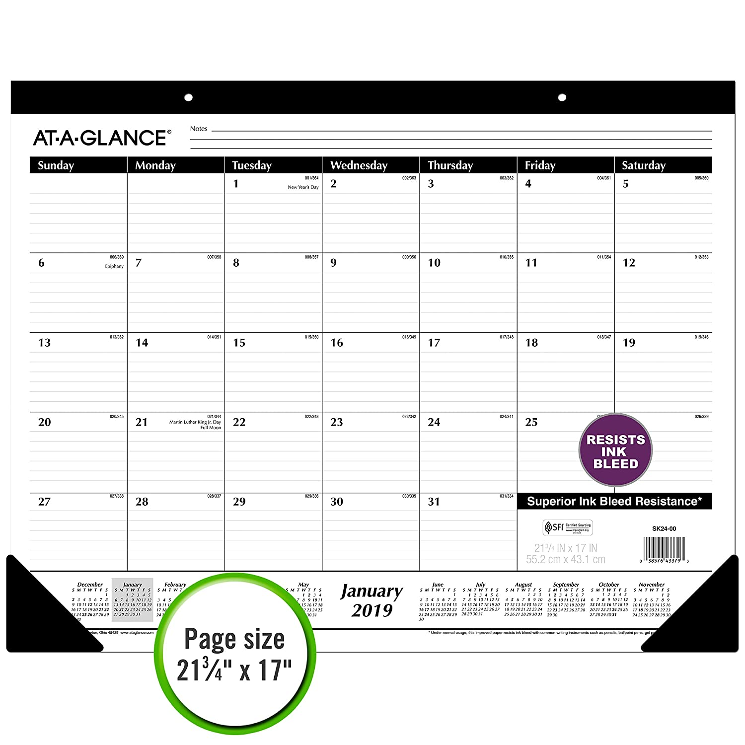 ST2400 Desk Pad 21-3//4 x 17 AT-A-GLANCE 2019 Desk Calendar Standard