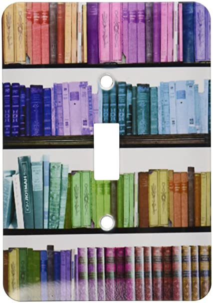 3dRose Lsp 112957 1 Colorful Bookshelf Books Rainbow Bookshelves Reading Book Geek Library Nerd Librarian Author Single Toggle