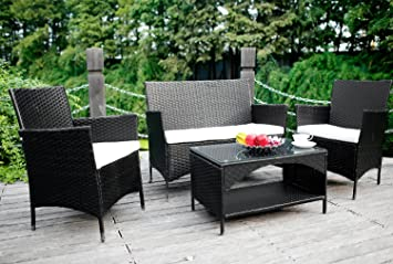 Amazoncom Merax 4piece Outdoor PE Rattan Wicker Sofa and Chairs