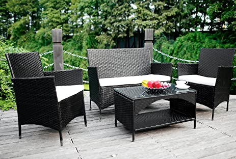 merax 4 piece outdoor pe rattan wicker sofa and chairs set rattan patio garden furniture - Garden Furniture 4 All