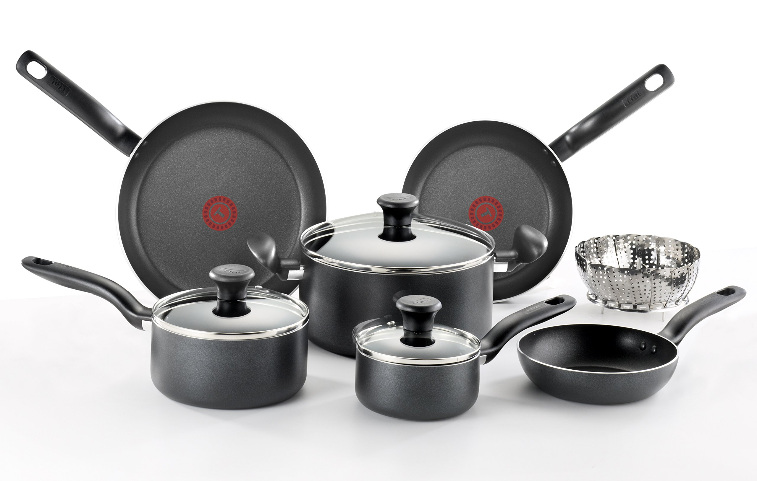 T-fal C996SE Initiatives Nonstick Ceramic Coating PTFE PFOA and Cadmium Free Scratch Resistant Dishwasher Safe Oven Safe Cookware Set, 14-Piece, Black 81mYppziefL