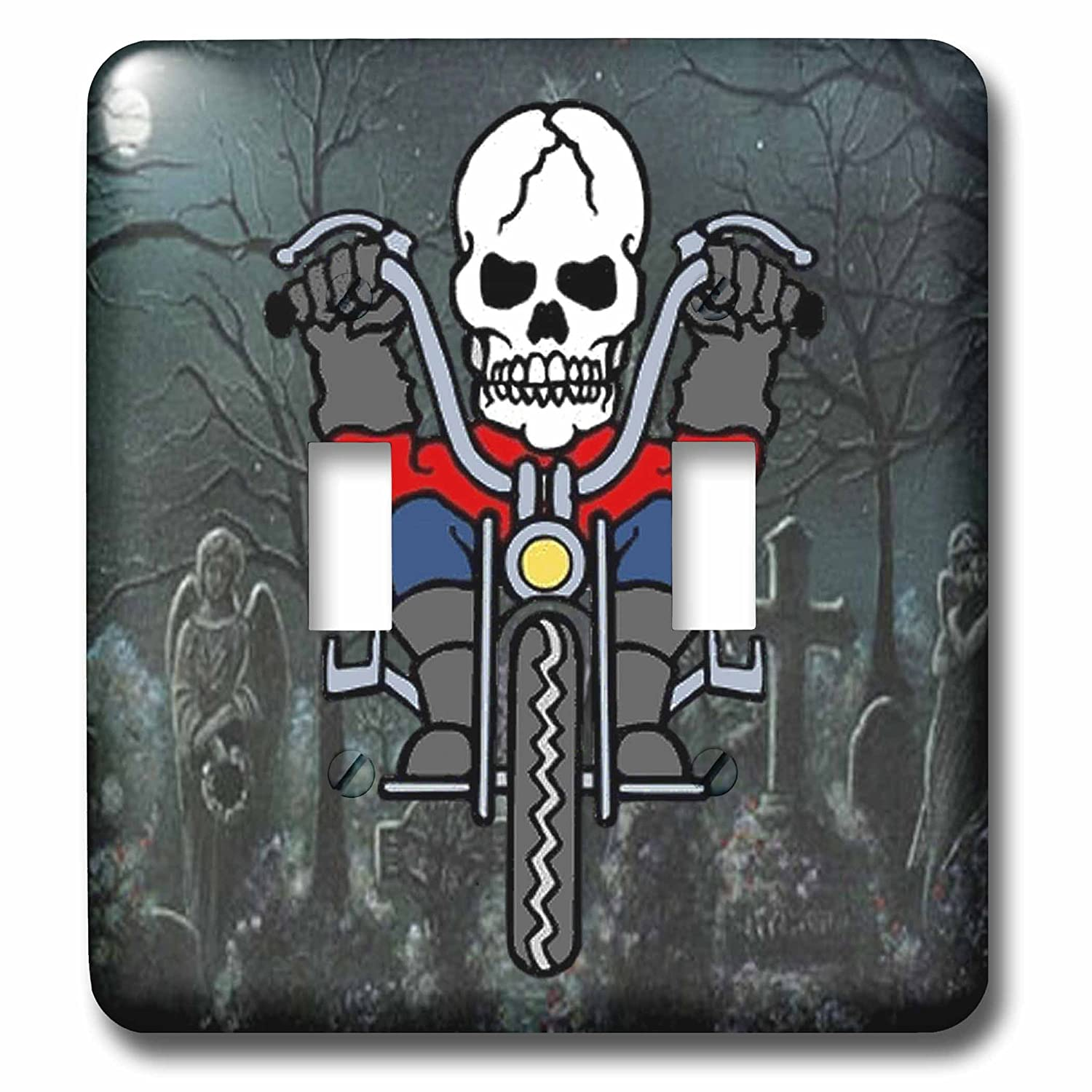 3dRose lsp/_53746/_2 Skeleton Riding a Motorcycle Through Graveyard Toggle switch