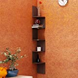 Artesia Brown MDF Corner Zigzag Wall Mounted Shelf for Home DÃcor