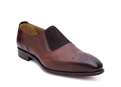 Medallion Toe Loafers Brown Burnished Men's Shoes - Free Shoehorn