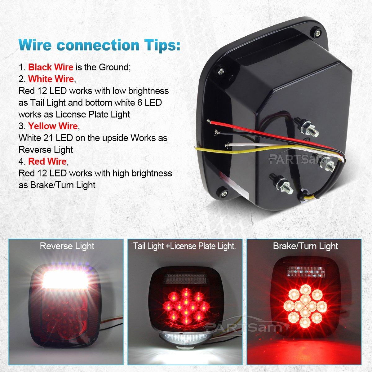 Partsam Combo Led Red Stop Turn Tail Light White Wiring A Fixture With Black And Wires Backup License Lamp For Truck Jeep Ford Automotive