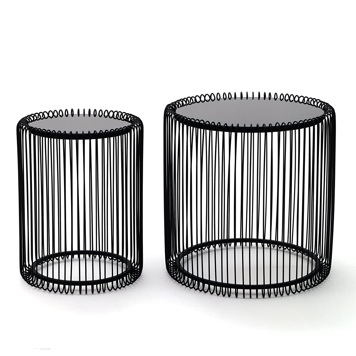 Kare design wire coffee table metal black amazon kitchen 2 stylish side table wire 2 pcs black round coffee greentooth Images