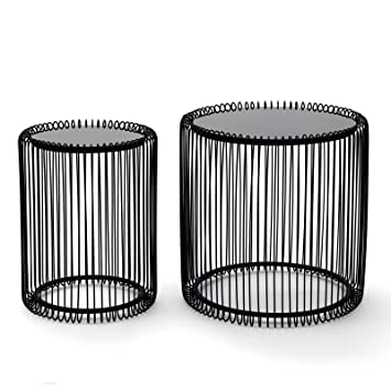 Design Delights 2 Stylish Side Table Wire 2 Pcs Black Round
