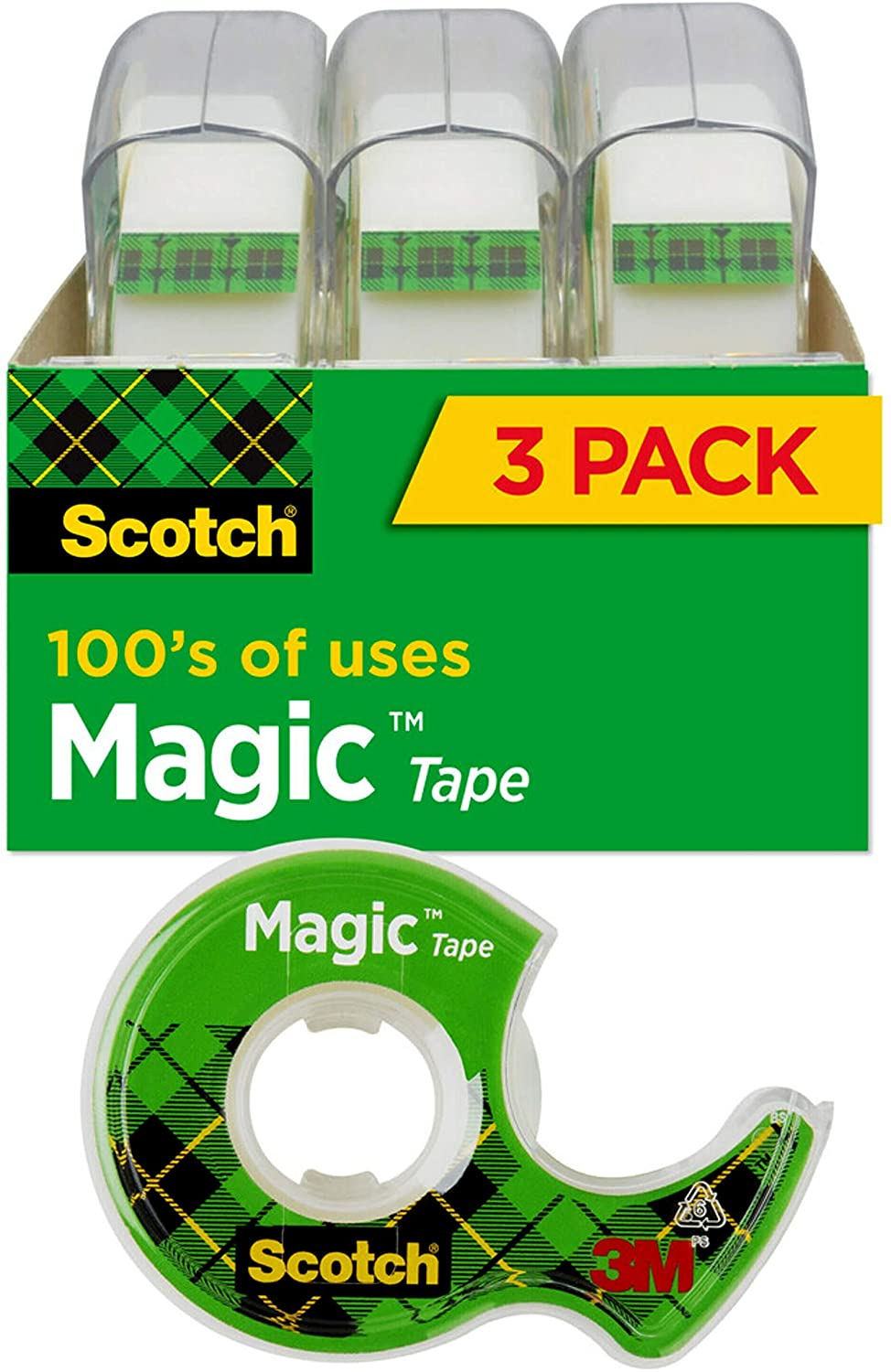 Scotch Magic Tape, 3 Rolls, Numerous Applications, Invisible, Engineered for Repairing, 3/4 x 300 Inches (3105) : Clear Tapes : Office Products
