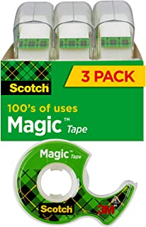 product image for Scotch Magic Tape, 3 Rolls, Numerous Applications, Invisible, Engineered for Repairing, 3/4 x 300 Inches (3105)