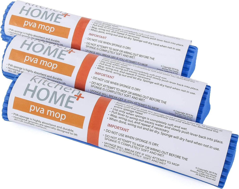 Kitchen + Home Sponge Mop Head Refill - Set of 3 Super Absorbent and Durable PVA Foam Rubber Roller Mop Head Refill