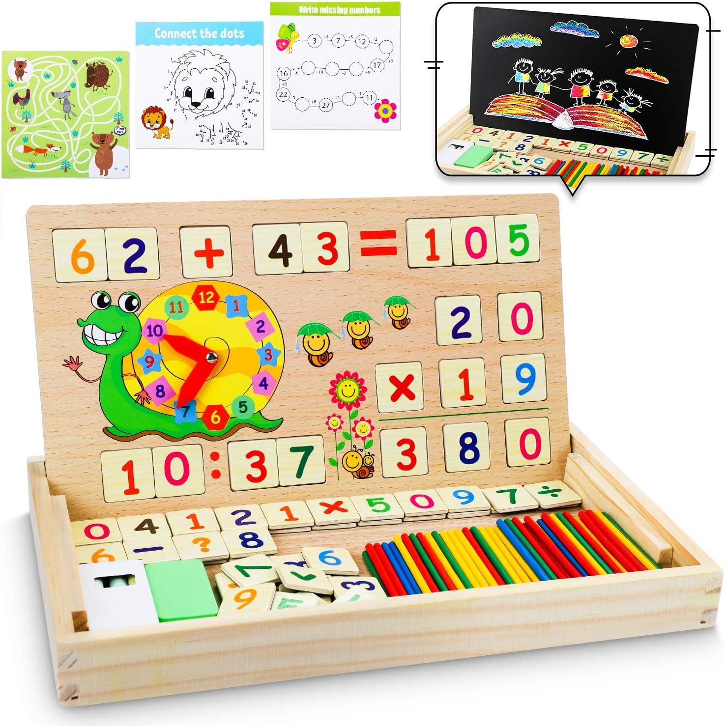 lenbest Matemáticas & Reloj Juguetes Caja Madera, Juguete Montessori Multifuncional de Reloj+ Operación Matemática+ Pintura , con Pizarra Magnética y 3 Tarjetas Matemáticas para Educación Temprana