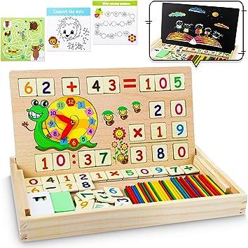 lenbest Matemáticas & Reloj Juguetes Caja Madera, Juguete Montessori Multifuncional de Reloj+ Operación Matemática+ Pintura , con Pizarra Magnética y 3 Tarjetas Matemáticas para Educación Temprana: Amazon.es: Juguetes y juegos