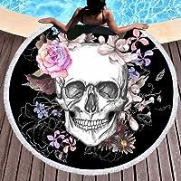 """Sleepwish Skull Round Beach Towel Blanket Skeleton Flower Roundie Beach Blanket Line Art Roundie Beach Blanket (Pink Rose, 60"""")"""