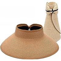 Maylisacc Rullbara damer brett brätte halmhatt, vikbar sommar topplösa solhattar för kvinnor justerbar UV-skärm med…
