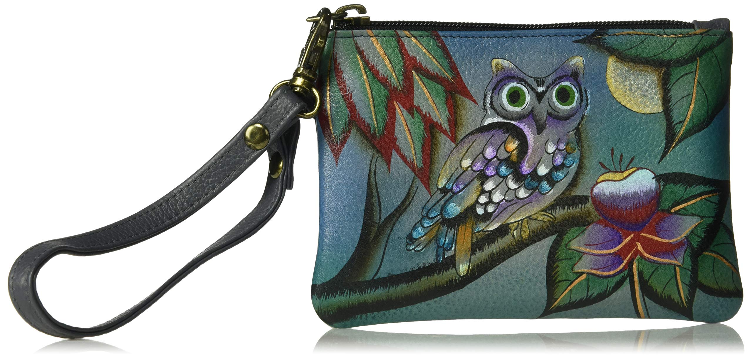 Anna by Anuschka Hand Painted Leather | Medium Organizer Pouch / Coin Purse | Midnight Owl