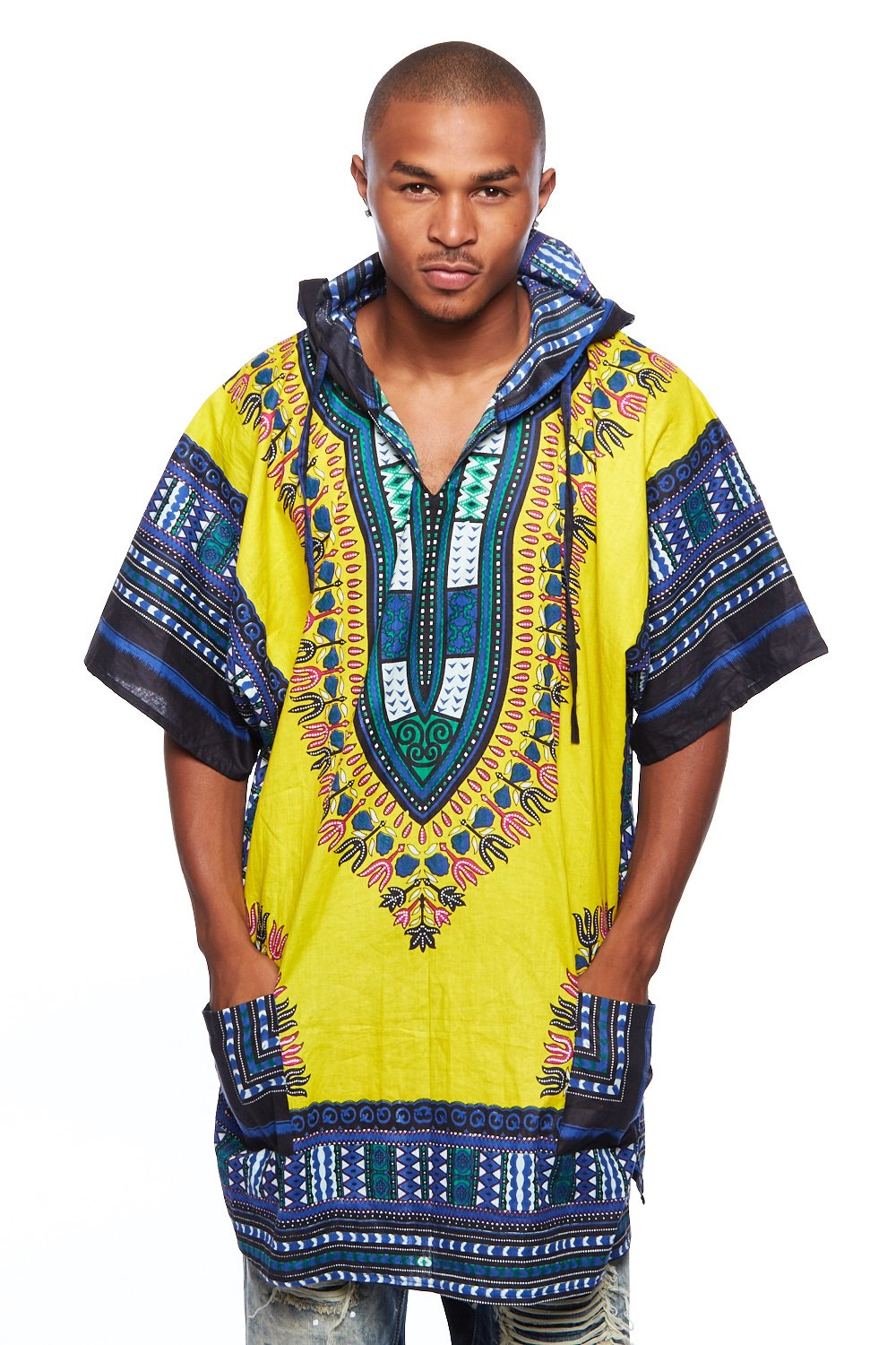 Mens African Swag Dashiki Loose Traditional Long Hoodie Top W/ Hood (One Size, Yellow/Blue) by GENx
