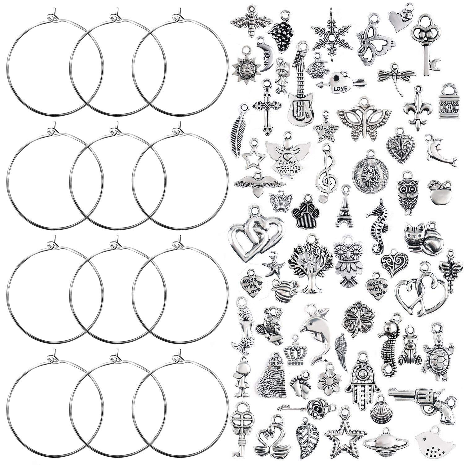 Homgaty 100 Pcs Stainless Steel Wine Glass Charm Rings Earring Hoops Wedding Party Decorations
