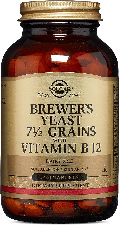 Solgar Levadura de Cerveza con Vitamina B12 Comprimidos - Envase de 250