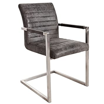 Konferenzstuhl grau  Freischwinger Stuhl EMPIRE Vintage grau mit gepolsterten Armlehnen ...