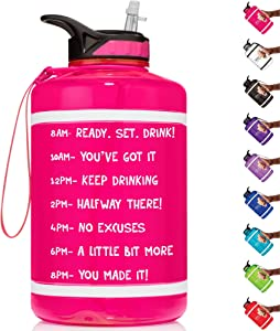HydroMATE Half Gallon 64 oz Motivational Water Bottle with Straw Time Marker Large BPA Free Jug Handle Reusable Workout Gym Fitness Drink More Hydro MATE 64oz