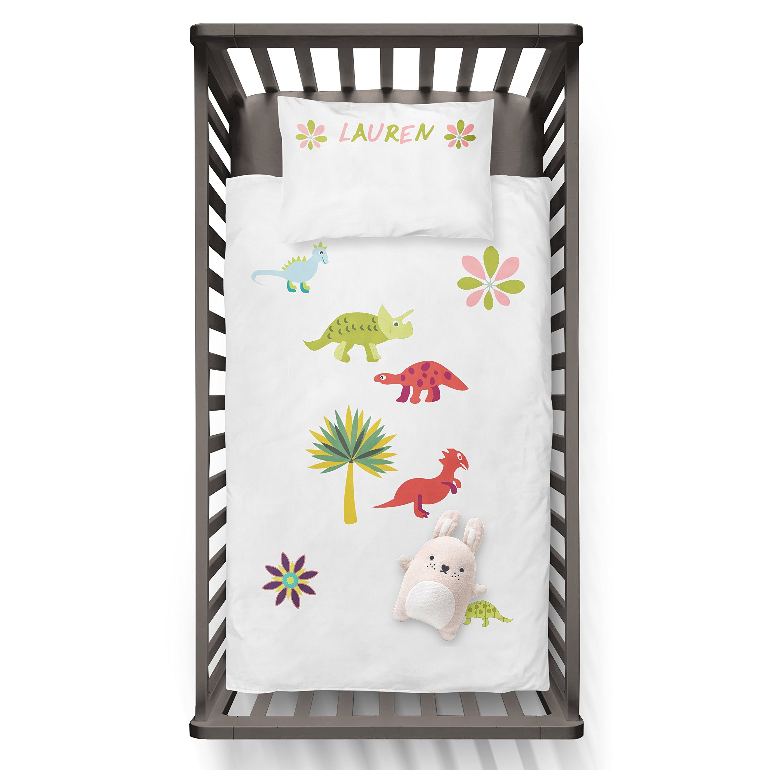 Personalised Baby Dino Duvet And Name On The Pillow Funny Humor Hip Baby Duvet /Pillow set,Toddler Duvet,Oeko-Tex,Personalized duvet and pillow,Oraganic,gift