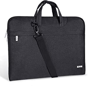 Voova Laptop Bag 17 17.3 inch Water-resistant Laptop Sleeve Case with Shoulder Straps & Handle/Notebook Computer Case Briefcase Compatible with MacBook Pro/New Razer Blade Pro 17 / Acer/Asus/Hp,Black