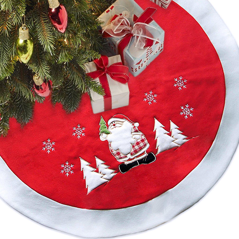LimBridge 48'' Thick Fleece Christmas Tree Skirt with Embroidered Snowflake Plush Santa Claus, Rustic   Xmas Holiday Decoration, Red