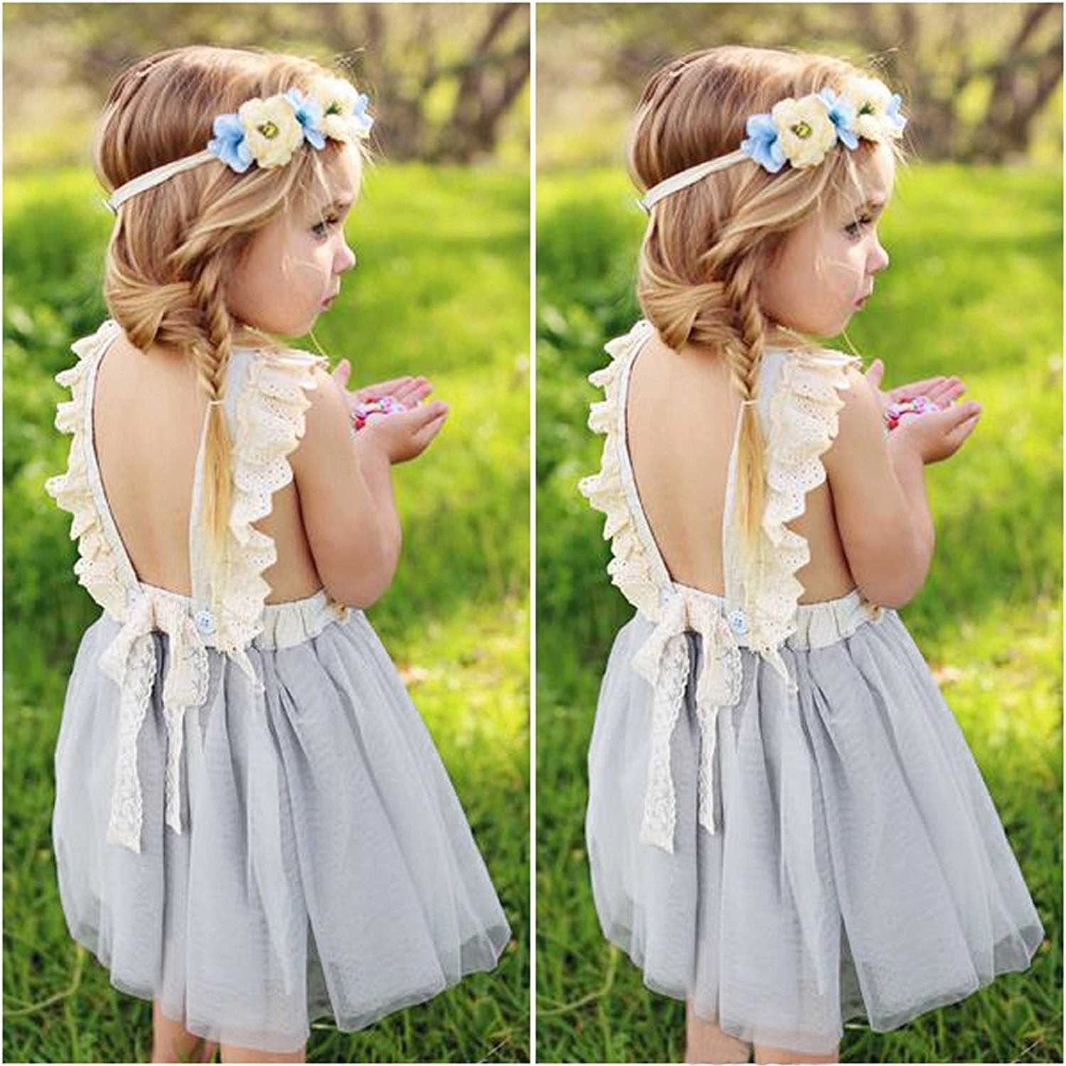 LOliSWan Little Girls Fairy Lace Princess Dress Ruffles Ballerina Tulle Tutu Toddlers Dress Up Outfits For Wedding Party (Gray, 3T) by LOliSWan (Image #2)
