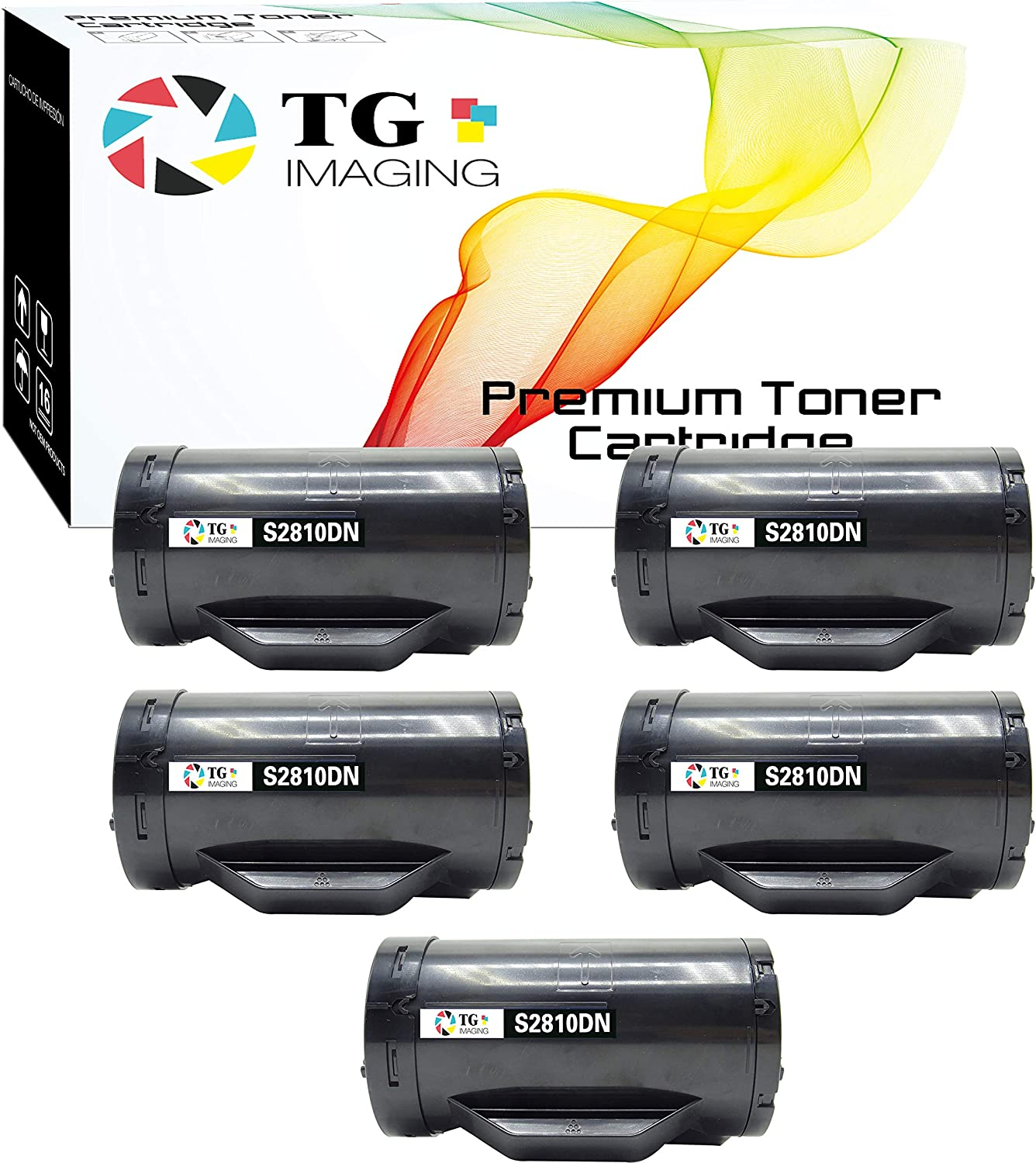 (Black, 5-Pack) TG Imaging Compatible Toner Replacement for Dell S2810 S2815 S2810X (593-BBMF)