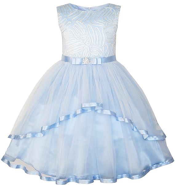 JT91 Sunny Fashion Vestido para niña Flor Azul Ceñido Boda Fiesta La dama de honor 4