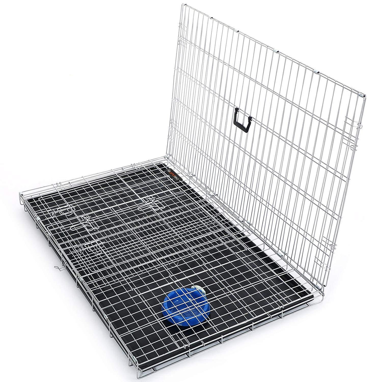 FEANDREA Cage pour Chien 2 Portes Pliable et Transportable avec Poign/ées et Plateau Noir XXXL 122 x 76 x 81 cm PPD48H