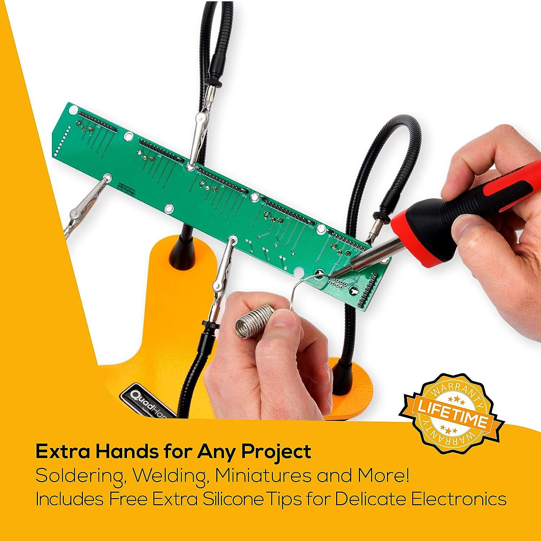 wo Sie wollen Professional Grade Melon Yellow QuadHands Helping Hands Third Hand L/ötkolben und Vise Vier Flexible Metall Waffen genau positioniert werden