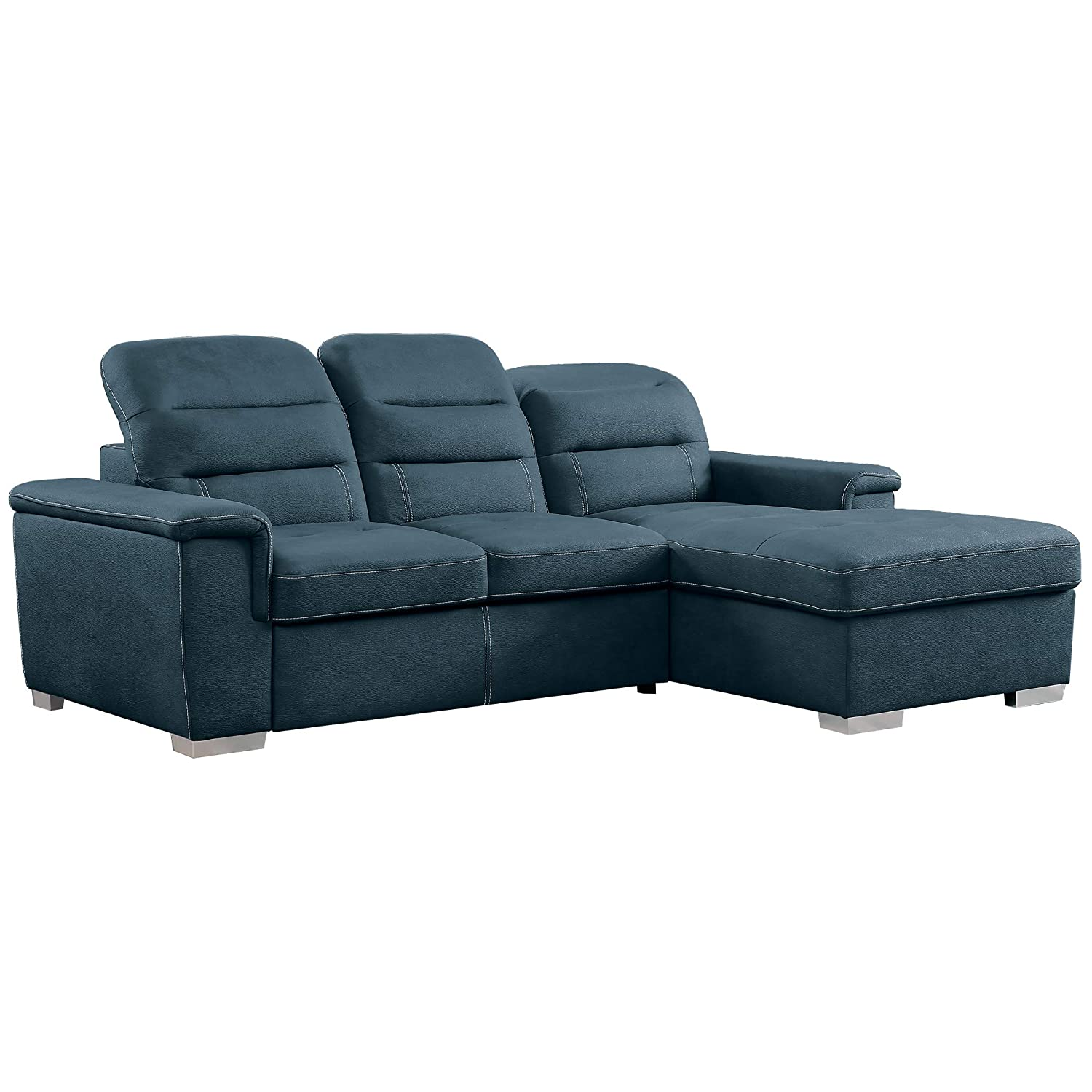 Homelegance 9808 Sleeper Sectional Sofa with Storage, Blue