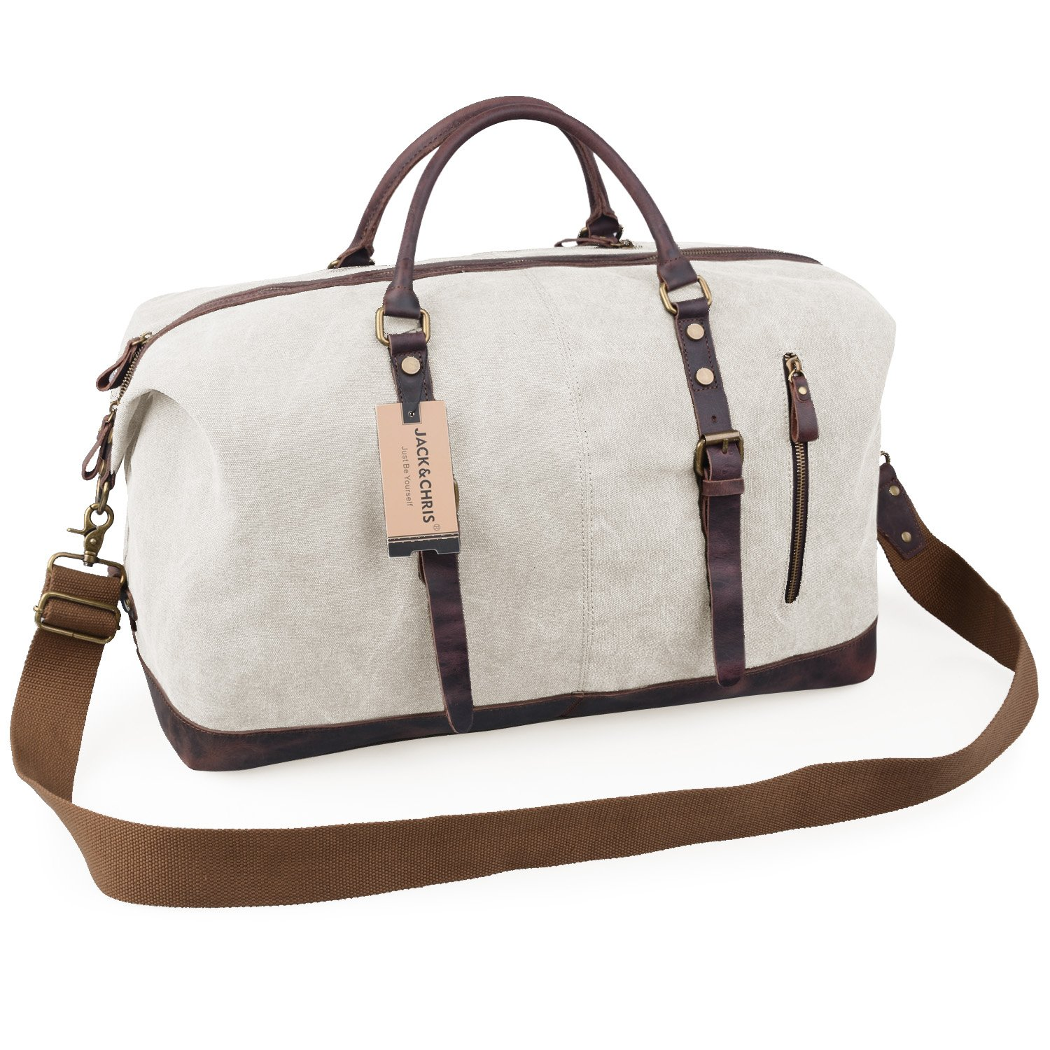 Jack&Chris Oversized Canvas Leather Trim Travel Tote Duffel shoulder handbag Weekend Bag CB1004