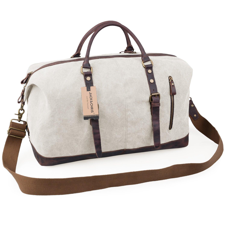 Jack&Chris Oversized Canvas Leather Trim Travel Tote Duffel Shoulder Handbag Weekend Bag CB1004 (Beige)