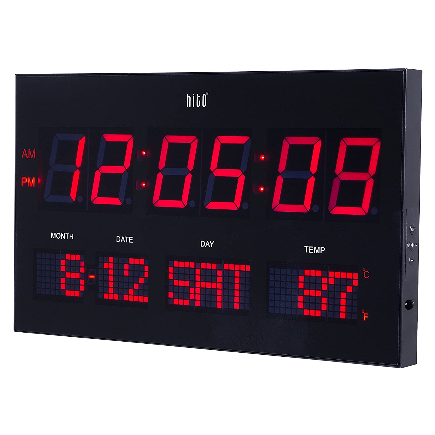 hito 14.2 Large Oversized LED Wall Clock Seconds Date Day Indoor Temperature Adjustable Brightness Memory Function Adapter Included Decorative for Living Room Office Conference Room Bedroom Red