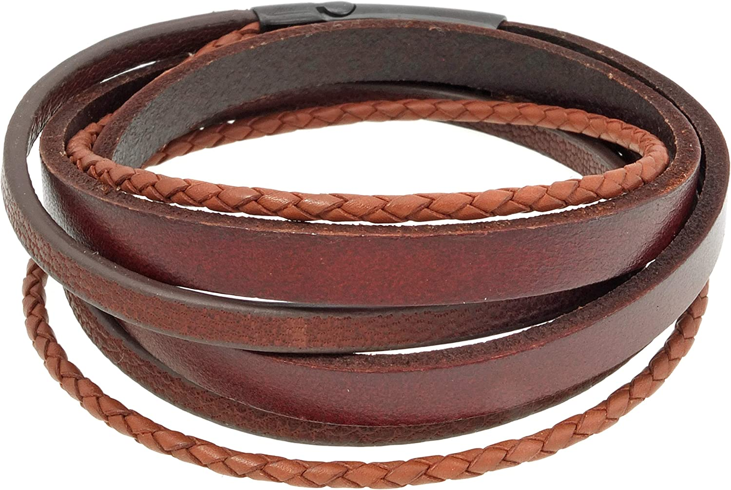 Multistranded Genuine Leather Bracelet with Magnetic Stainless Steel Closure