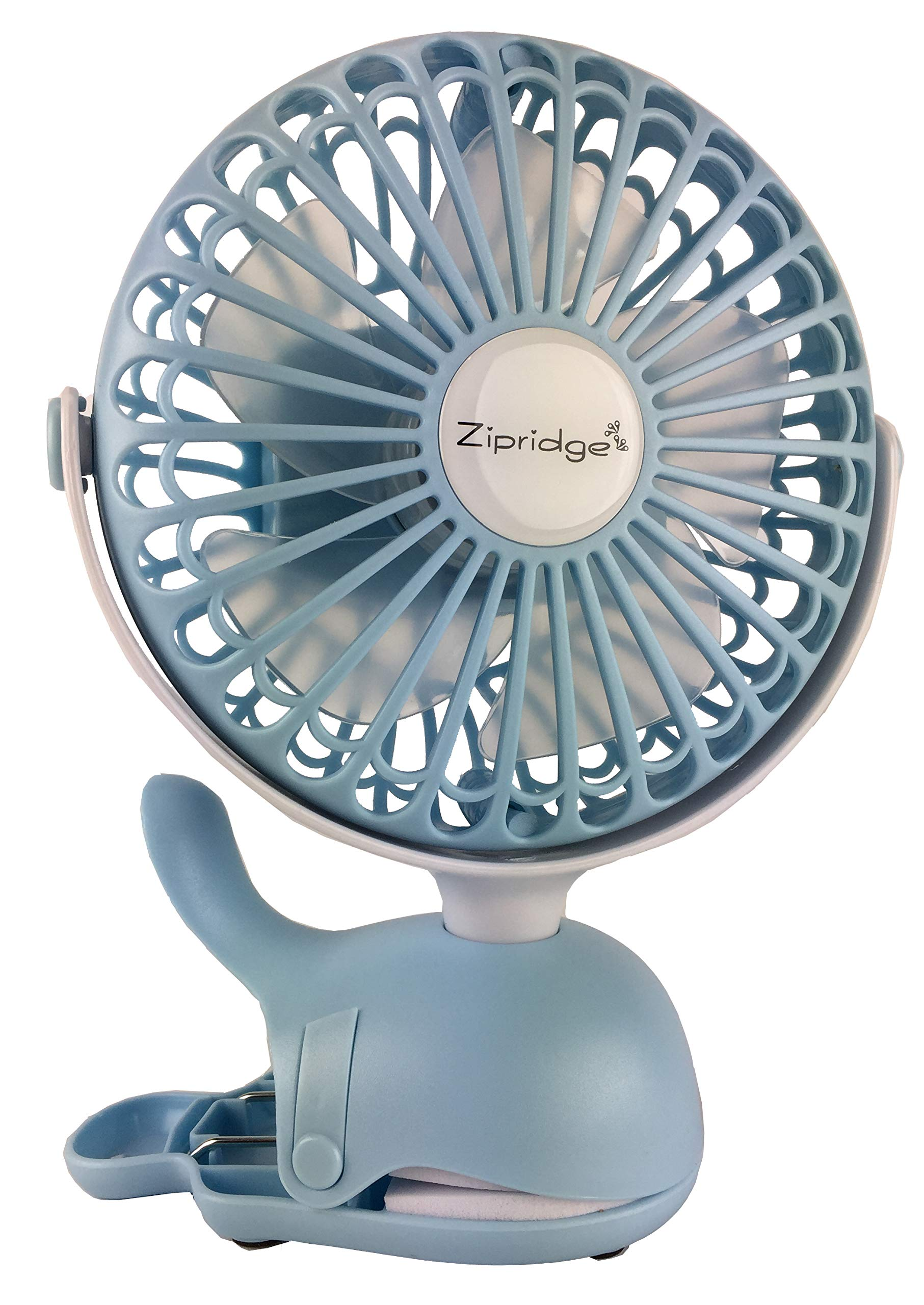 Clip On Baby Stroller Fan With Rechargeable Battery Perfect for Infant Crib, Golf Cart, Car Seat, Office Desk, Camping, or Workout in A Playful Whale Design, Blue by Zipridge (Image #1)