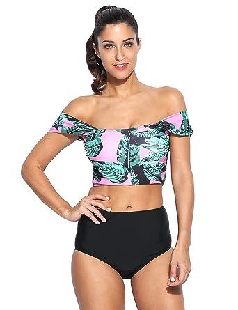 825fd9100 Amazon.com  Women Off Shoulder Bikini Set Sexy Floral Print High Waist  Split Swimsuit bathing suit  Clothing
