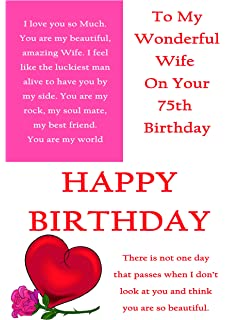 75th birthday birthday greetings card by carte blanche amazon wife 75th birthday card with removable laminate m4hsunfo