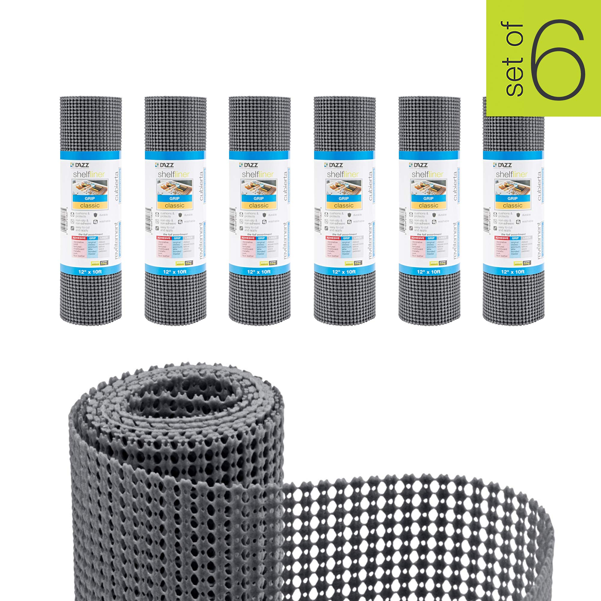 Smart Design Shelf Liner w/Classic Grip - Wipes Clean - Cutable Material - Non Slip Design - for Shelves, Drawers, Flat Surfaces - Kitchen (12 Inch x 10 Feet) [Graphite Gray] - Set of 6-60' Total by Smart Design