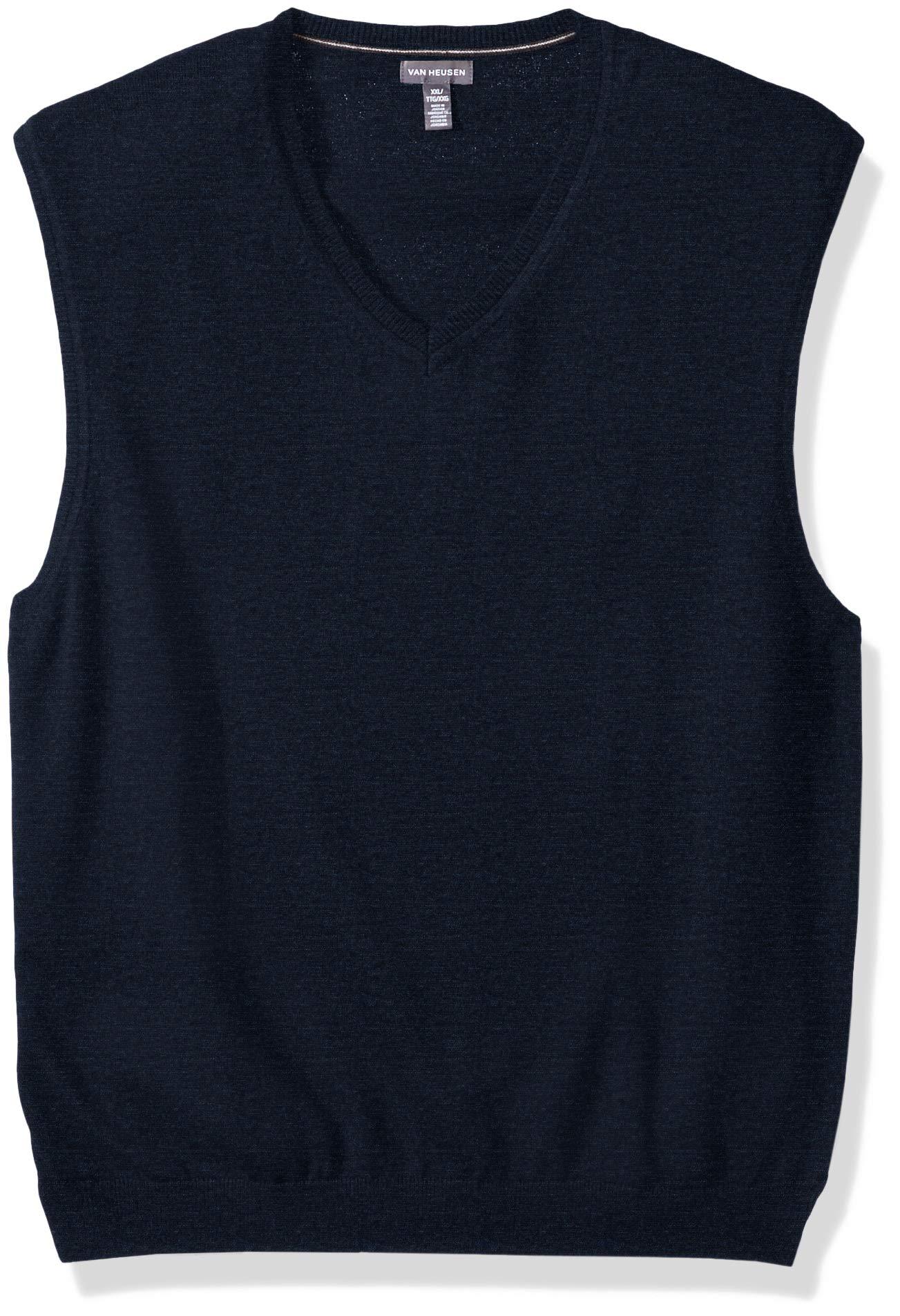 Van Heusen Men's Solid Jersey Sweater Vest, Blue Night Heather, Medium