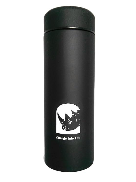 Rhinosports - Botella de agua termo aislante (380 ml, acero inoxidable recubierto de polvo y a prueba de fugas, doble pared, antideslizante, agarre fácil y ...