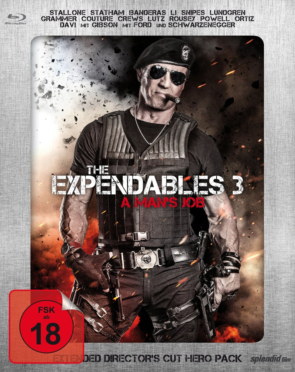 The Expendables 3 - A Mans Job - Extended Directors Cut - Limited Hero Pack Blu-ray: Amazon.es: Stallone, Sylvester, Statham, Jason, Li, Jet, Lundgren, Dolph, Schwarzenegger, Arnold, Banderas, Antonio, Crews, Terry, Snipes,