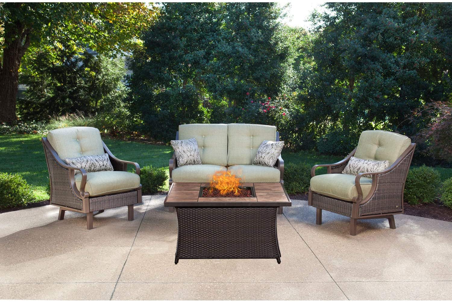 Hanover VEN4PCFP-GRN-TN 4 Piece Ventura Fire Pit Chat Set in Vintage Meadow