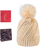 Women Knit Hat Winter Beanie with Pom Pom Slouchy Skull Cap Thick Fleece Lining Scarf
