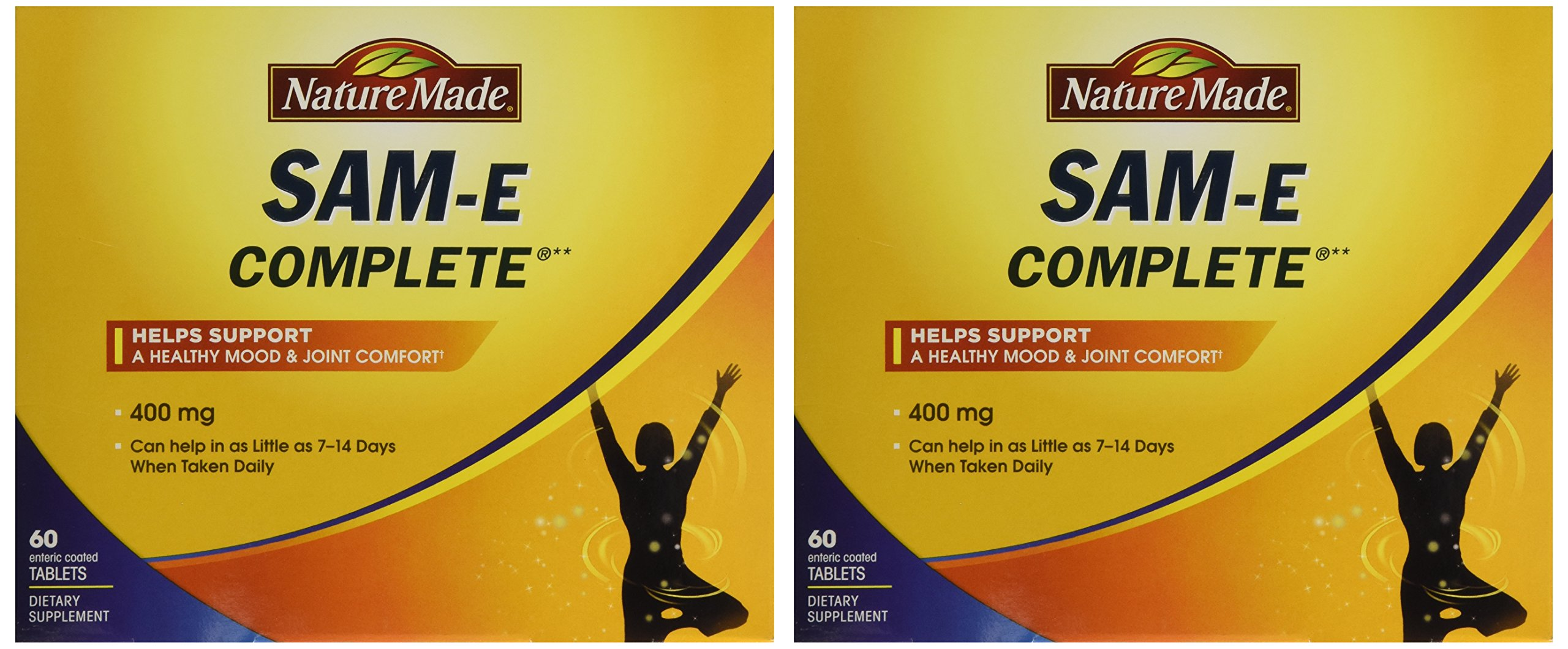 Nature Made SAM-e Complete 400 mg - 2 Boxes, 60 Enteric Tablets Each by Nature Made