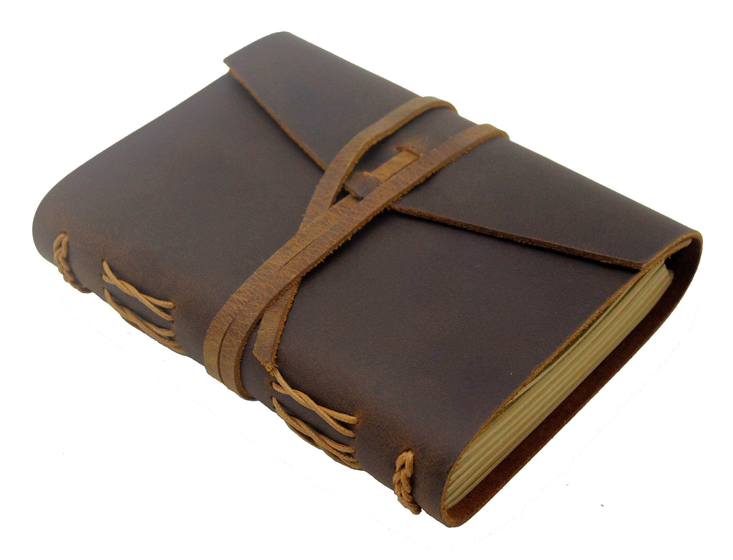 Leather Journal, 100% Handmade Genuine Leather Bound Notebook - 100GSM Lined Kraft Paper 288 Pages (144 Sheets) Gifts for Men & Women,7×5 in,Rustic Brown